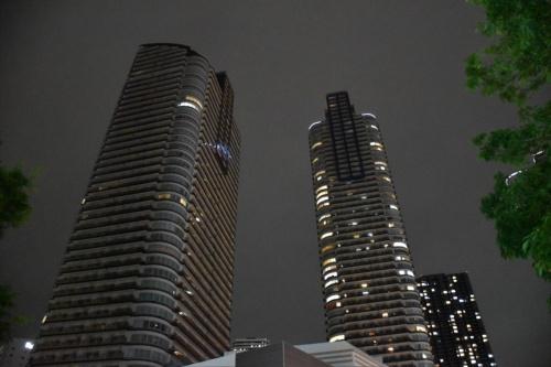 左が台風19号の影響で住戸の大半が停電したタワーマンション。2019年10月18日撮影(写真:日経アーキテクチュア)