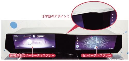 図2 S字型のデザインで乗員がセンターディスプレーを操作しやすく