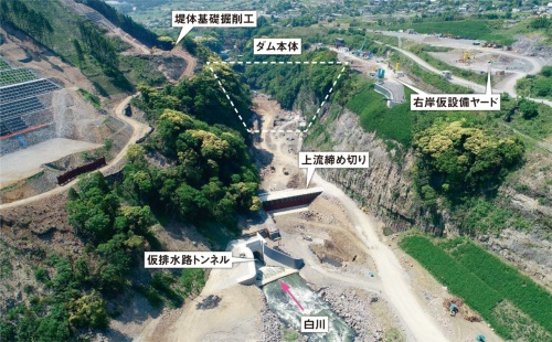 写真1■ 立野ダムの工事現場。2019年5月撮影(写真:国土交通省立野ダム工事事務所)