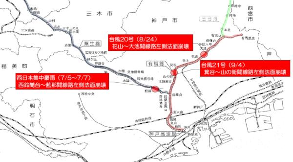西松建設が2018年に手掛けた神戸電鉄の災害復旧工事。西日本豪雨に続いて台風20号、21号と続けざまに被害が出た(資料:西松建設)