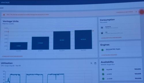 コンサンプション・プライシングの設定画面。クエリーの実行回数を部署や月ごとに確認し、Vantageの実行数を増減する