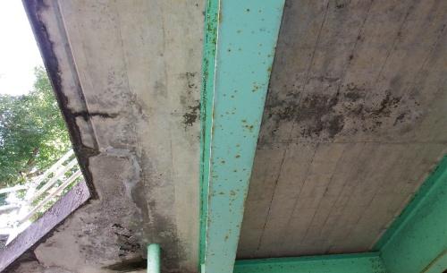 写真2■ 鉄筋の露出箇所の位置関係が分かる写真。本来は主桁の損傷状況を証明する写真として調書に載っていた