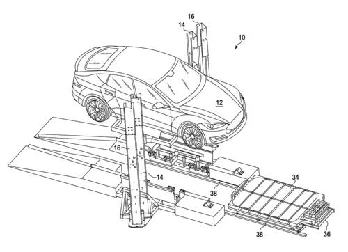 図2 電池交換システムに関するTeslaの特許