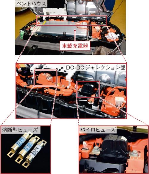 図3 テスラ モデル3に採用されたパイロヒューズの搭載位置