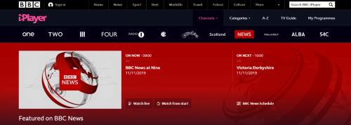 BBCのiPlayer。同社の表玄関と位置付けており、2019年1月にはiPlayerでの視聴件数は3億5600万件に達した