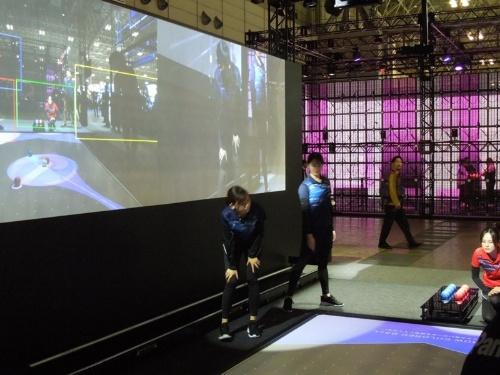 パナソニックが2019年11月に開催された「2019年国際放送機器展(Inter BEE 2019)」で、展示の目玉に据えた「高効率撮影システム」。パラリンピック競技のボッチャを題材にした