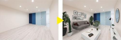 室内写真に家具やインテリアを付加するバーチャルステージングサービス「フォトステ」。ウェブ上に数多く並ぶ賃貸物件の中で視覚的な差別化を図ることで閲覧数の引き上げに貢献する(資料:クラスコ)