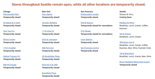 2020年4月現在の各店舗の営業時間表示。外出制限が厳しいシカゴ、ニューヨーク、サンフランシスコは全店閉店となっている