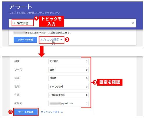 Google アカウントでログイン後、トピックを入力(1)。「オプションを表示」を選び(2)、設定を確認(3)。よければ「アラートを作成」を選ぶ(4)