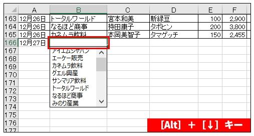 [Alt]+[↓]キーで同じ列内のデータをリストから選べる