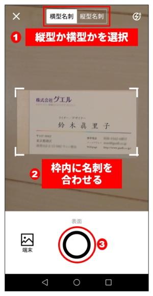 会員登録が済んだら(1)〜(3)の順で自分の名刺を撮影して登録する