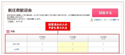 参加予定者はメールに記載されたURLにアクセスし、「回答する」をクリック