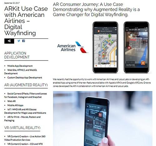 図2 American Airlinesの「AR道案内」を紹介するGroove JonesのWebサイト