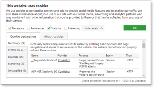 「クッキー利用規制」に準拠したWebサイトの表示例(画像出所:デンマークのクッキーボット)
