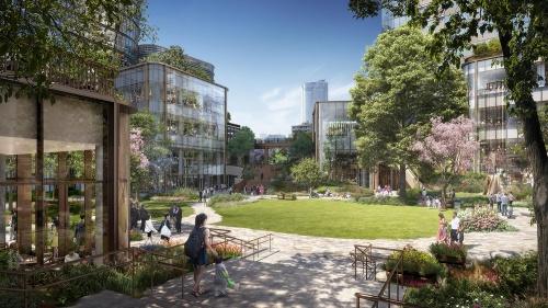 虎ノ門・麻布台プロジェクトの中央広場の完成予想イメージ(資料:森ビル)
