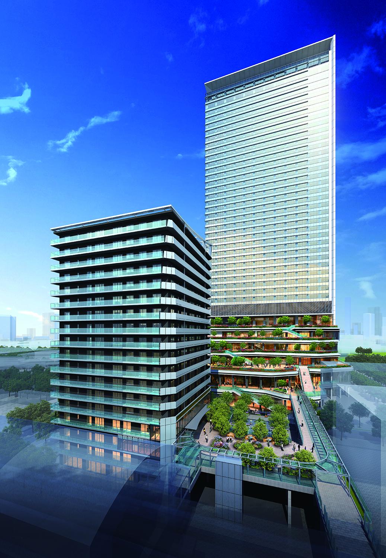 東京ポートシティ竹芝の外観イメージ。都有地に高さ200m級の業務棟と100m級の住宅棟を建てる(資料:東急不動産)