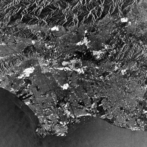SEASATが1978年に観測したロサンゼルス