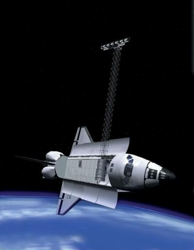 「SRTM」のレーダーを展開したスペースシャトル「エンデバー」