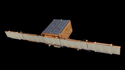 アイスアイ初の衛星「ICEYE X1」。横方向に大きく広げているのがSARのアンテナ。