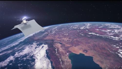 カペラスペース初のSAR衛星Capella 1。面積が100平方フィート(約9m<sup>2</sup>)もある大型で高感度の展開アンテナを持つ。2018年12月に打ち上げた。