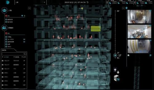 鹿島が開発を進める資機材位置・稼働モニタリングシステム「K-Field(ケイ・フィールド)」の表示例。鹿島が施工に携わる神奈川県内の複合ビルの現場で活用する(写真:鹿島)