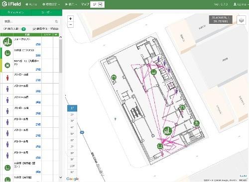 ケイ・フィールドのリアルタイム表示画面。名古屋伏見Kスクエアでは、2次元の平面図に資機材位置を示していた(資料:鹿島)