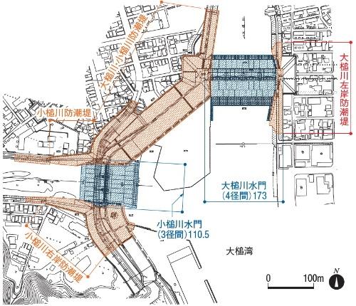大槌町で進む防潮堤と水門の工事の範囲。青色の着色部が水門(資料:安藤ハザマ・植木組・伊藤組土建・南建設JV)