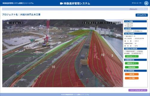カメラの映像に3次元設計データを組み合わせた。設計データと現況を視覚的に比較できる(資料:映像進捗管理システム開発コンソーシアム)