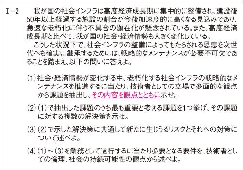 下線部が2019年度と異なる。19年度の必須科目は小問(1)~(4)が2問とも同じだった(資料:日本技術士会)