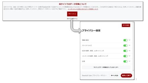 CMPがユーザーに表示する同意・拒否の選択肢の画面例