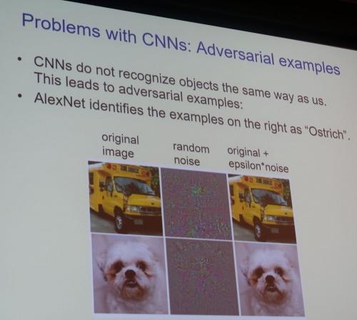 CNNの問題は「敵対的サンプル」の画像にだまされるなど、人間の認知メカニズムとかい離がある点