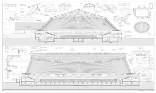 静岡県草薙総合運動場体育館の設計で描いた50分の1の矩計図(かなばかりず)。長辺方向、短辺方向それぞれの断面を切り出し、必要に応じて部位ごとの詳細図も添付している(資料:内藤廣建築設計事務所)
