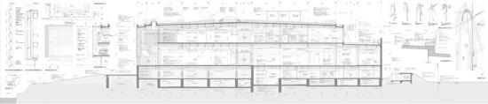 富山県美術館の矩計図(資料:内藤廣建築設計事務所)