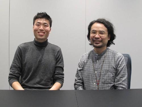 モンスト事業本部開発室モンストサーバグループの王奇氏(左)と佐藤俊宏モンスト事業本部ゲーム運営部マネージャー