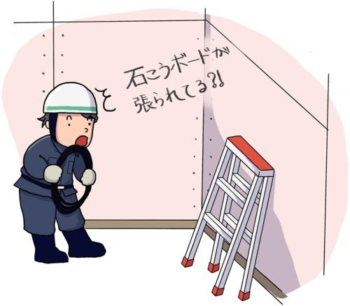元受け会社がヘルプで頼んだ大工職のケース。他の職方の作業に無配慮で、電気工事前に内装下地の石こうボードを張って知らん顔だった(イラスト:anne)