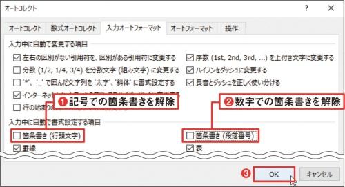図3 箇条書きは「1. 」「①」などの数字だけでなく、「■」「○」などの記号でも設定される。両方とも不要なら、「箇条書き(行頭文字)」と「箇条書き(段落番号)」のチェックを外す(1、2)。「OK」ボタンをクリックする(3)