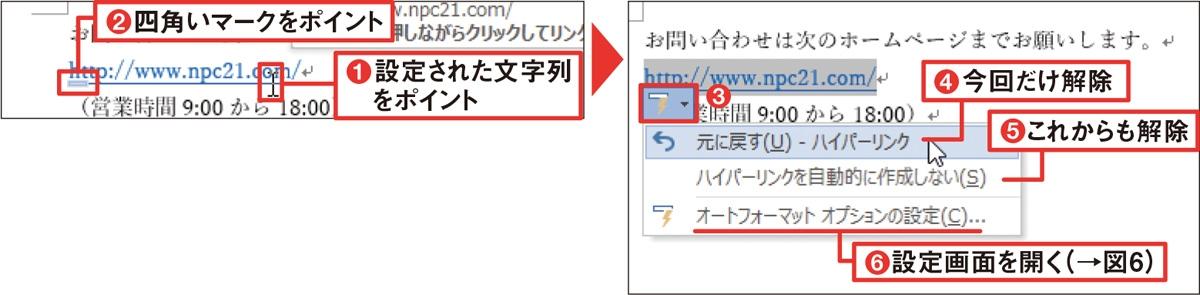 後から解除するなら右クリックが速い 図3 ハイパーリンクが自動設定された文字列にマウスポインターを合わせ、表示される四角いマークに重ねる(1、2)。現れた「オートコレクトのオプション」ボタンをクリックすると、設定の解除などができる(3~6)。