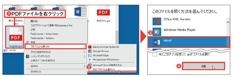 図4 エクスプローラーで読み込むPDFファイルを右クリックし、「プログラムから開く」→「別のプログラムを選択」から「Word」を選択する(1~4)