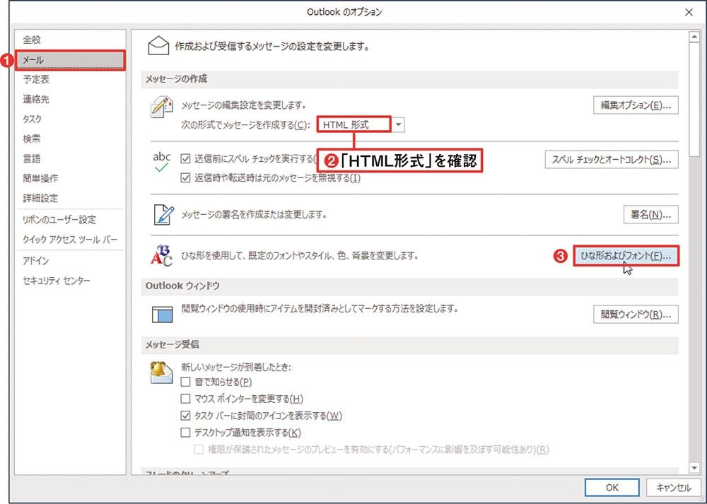 既定の書式はひな形で設定 「ファイル」→「オプション」と選択してオプション設定画面を開き、「メール」を選択(1)。HTML形式を既定にする場合は「次の形式でメッセージを作成する」が「HTML形式」になっていることを確認する(2)。「ひな形およびフォント」をクリックする(3)