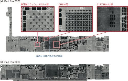 図2 新旧iPad Proメイン基板内部をX線撮影で比較