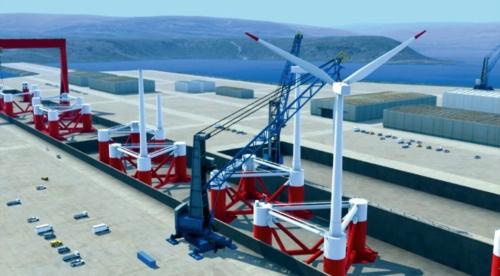 (a)港湾で流れ作業で浮体と風車を組み立て