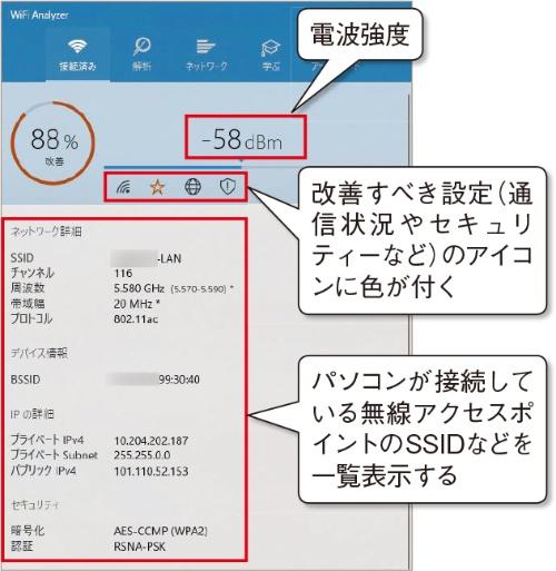 無線LANに関する情報が一覧表示される