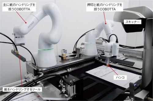 印鑑を押すロボット