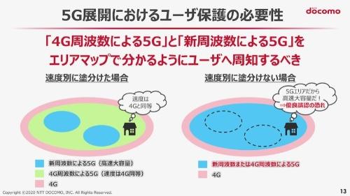 NTTドコモは4G周波数帯による5Gと新周波数帯による5Gをエリアマップで分かるように周知すべきだと主張する