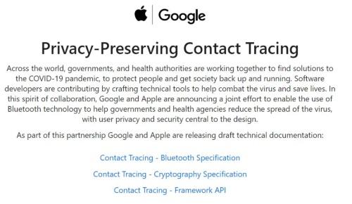 米グーグルと米アップルが公表した追跡アプリの情報サイト。技術情報も公開している