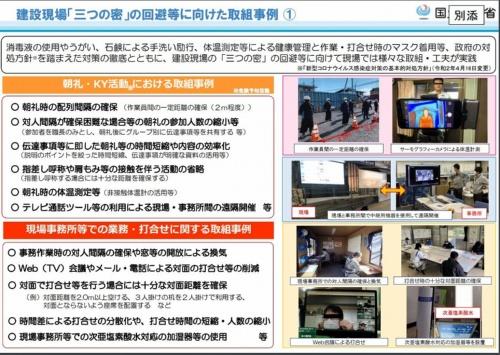 4月17日に公開された「建設現場『三つの密』の回避等に向けた取組事例」の一部(資料:国土交通省)