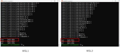 WSL 1とWSL 2の解凍速度の比較結果。Linuxカーネルのソースコードの解凍はWSL 1が約159秒だったのに対し、WSL 2は約25秒と約6倍速く解凍できた。Surface Pro 4(CPU:Core i5、RAM:4ギガバイト、HDD:SSD 128ギガバイト)で検証した