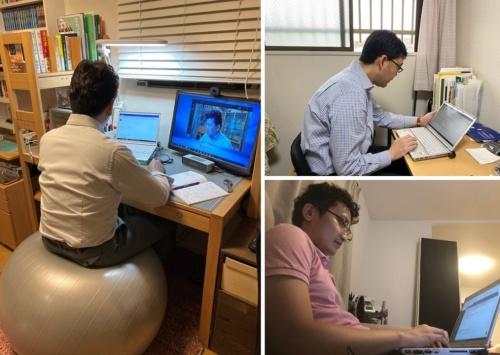 新型コロナウイルス対策として在宅勤務に取り組む三井化学の社員。バランスボールによる体幹トレーニングをしながら執務をする工夫なども出てきている