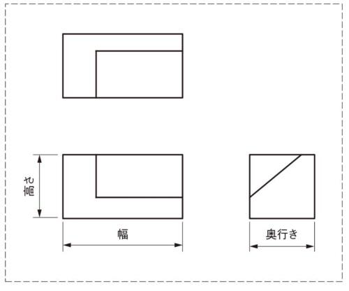 図1 例題1(第三角法の三面図)
