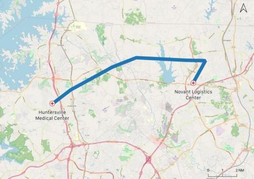 Novant Healthの物流拠点から、ノースカロライナ州ハンタースヴィルにあるNovant Health Huntersville Medical Centerまでの飛行経路(画像:ジップライン)